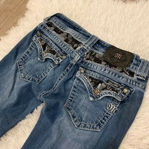 Miss Me Womens Boot Cut Jeans Blue Whiskered